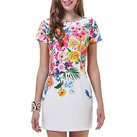 Women's Mini Sheath Dress - Short Sleeves Print Summer Elegant Slim 2020 White S M L