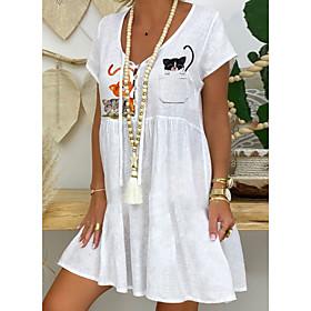 Women's A-Line Dress Knee Length Dress - Short Sleeve Animal Summer V Neck Casual Chinoiserie 2020 White S M L XL XXL 3XL