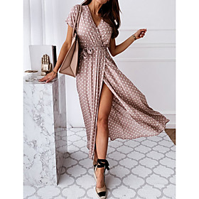 Women's Maxi Wrap Dress - Short Sleeves Polka Dot Print Summer V Neck Casual Sexy Vacation Tea Party 2020 Black Blue Blushing Pink Green S M L XL XXL XXXL