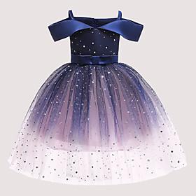 Kids Girls' Active Cute Polka Dot Galaxy Sequins Bow Pleated Sleeveless Knee-length Dress Blue