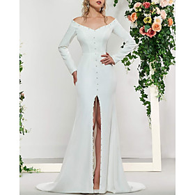 A-Line Wedding Dresses Off Shoulder Sweep / Brush Train Stretch Satin Long Sleeve Simple with Beading Split Front 2020