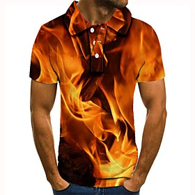Men's 3D Graphic Polo Basic Daily Shirt Collar Orange / Short Sleeve