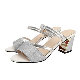 Women's Sandals Summer Chunky Heel Open Toe Daily PU Light Red / Silver / Black