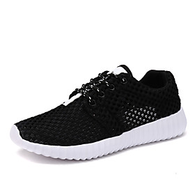 Men's Summer Sporty Athletic Trainers / Athletic Shoes Running Shoes Mesh / Elastic Fabric Non-slipping White / Black