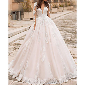 A-Line Wedding Dresses V Neck Court Train Lace Tulle Short Sleeve Vintage Sexy Wedding Dress in Color Backless with Embroidery Appliques 2020
