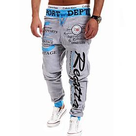 Men's Basic Slim Chinos Pants Print Drawstring Black Red Gray US36 / UK36 / EU44 US38 / UK38 / EU46 US42 / UK42 / EU50
