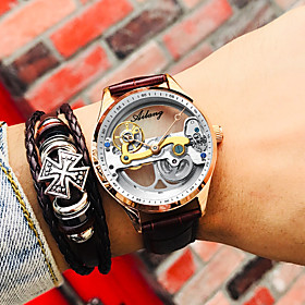 Men's Mechanical Watch Automatic self-winding Fashion Water Resistant / Waterproof Analog Black Brown Black / White / One Year / Genuine Leather / Genuine Leat