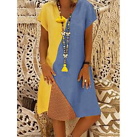 Women's Shift Dress Knee Length Dress - Short Sleeves Color Block Summer Casual 2020 Yellow Green S M L XL XXL