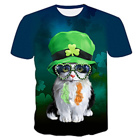 Men's 3D Animal Cat Print T-shirt Street chic Exaggerated Daily Holiday Round Neck Rainbow / Short Sleeve