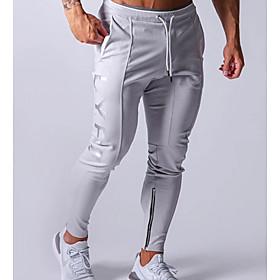 Men's Basic Slim Sweatpants Pants Solid Colored Drawstring Black Navy Blue Gray US32 / UK32 / EU40 US34 / UK34 / EU42 US36 / UK36 / EU44