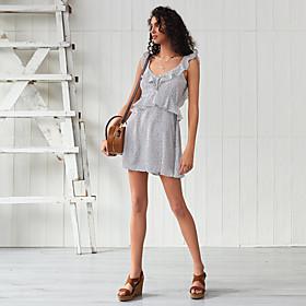 Women's A-Line Dress Maxi long Dress - Sleeveless Geometric Ruffle Summer Elegant Boho Holiday Going out 2020 White XS S M L XL