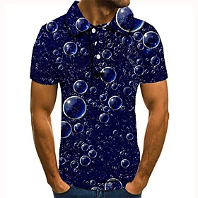 Men's 3D Graphic Polo Basic Daily Shirt Collar Navy Blue / Short Sleeve