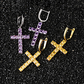 Men's AAA Cubic Zirconia Earrings Statement European Romantic Fashion Hip Hop Earrings Jewelry Purple / Yellow / Gold For Formal Prom Date Street Festival
