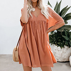 Women's Sundress Short Sleeves Solid Color Summer Casual Street chic 2020 White Orange Light Blue S M L XL XXL