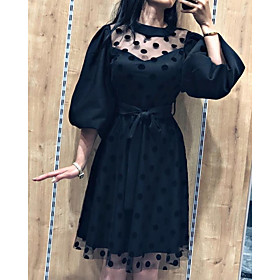 A-Line Little Black Dress Vintage Homecoming Cocktail Party Dress Illusion Neck 3/4 Length Sleeve Knee Length Tulle with Sash / Ribbon Pattern / Print 2020