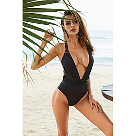 Women's Basic One-piece Swimsuit Backless Criss Cross Solid Colored Plunging Neck Swimwear Bathing Suits Black