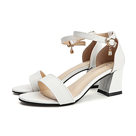 Women's Sandals Summer Chunky Heel Open Toe Casual Daily Buckle PU White / Black