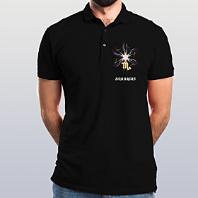 Men's Abstract Graphic Polo Basic Elegant Daily Going out Black
