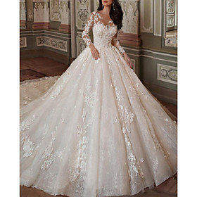 Ball Gown A-Line Wedding Dresses Jewel Neck Chapel Train Lace Tulle Long Sleeve Vintage Sexy See-Through Backless with Embroidery Appliques 2020