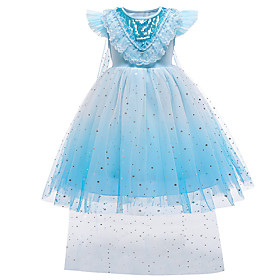 Kids Toddler Girls' Sweet Cute Blue Solid Colored Snowflake Sequins Mesh Sleeveless Knee-length Dress Blue