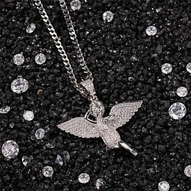 Men's AAA Cubic Zirconia Necklace Pave Angel Statement Unique Design Trendy Fashion Copper Gold Silver 60 cm Necklace Jewelry 1pc For Party Evening Street Birt