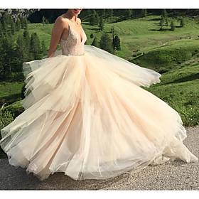 A-Line Wedding Dresses V Neck Spaghetti Strap Sweep / Brush Train Lace Tulle Sleeveless Sexy with Sashes / Ribbons Beading Cascading Ruffles 2020