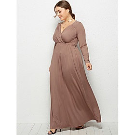 Women's Swing Dress Maxi long Dress - Long Sleeve Solid Color Ruched Summer Fall V Neck Plus Size Formal Elegant Holiday Going out 2020 White Black Wine Khaki