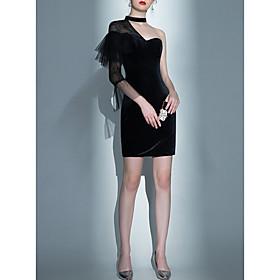 Mermaid / Trumpet Little Black Dress Black Party Wear Cocktail Party Dress One Shoulder 3/4 Length Sleeve Short / Mini Velvet with Lace Insert 2020