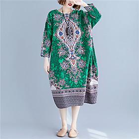 Women's A Line Dress - 3/4 Length Sleeve Print Spring Summer Vintage Mumu Holiday Beach Loose Linen Green One-Size