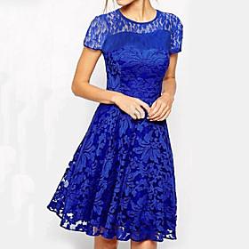 Women's A-Line Dress Knee Length Dress - Short Sleeve Floral Solid Colored Lace Plus Size Elegant Going out White Black Blue Red S M L XL XXL 3XL