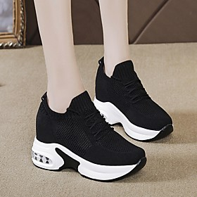 Women's Trainers / Athletic Shoes Summer Wedge Heel Round Toe Daily Mesh White / Black / Red