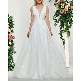 A-Line Wedding Dresses V Neck Sweep / Brush Train Lace Tulle Sleeveless Sexy Backless with Sashes / Ribbons Embroidery 2020