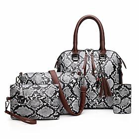 Women's Zipper PU Bag Set 2020 Snakeskin 4 Pieces Purse Set Blue / Red / Khaki