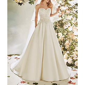 A-Line Wedding Dresses Strapless Sweep / Brush Train Lace Satin Sleeveless Vintage Sexy Wedding Dress in Color Backless with Pleats Embroidery Appliques 2020