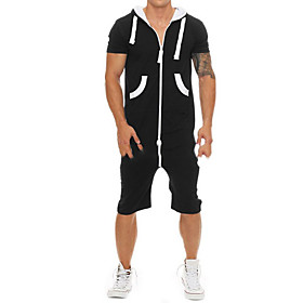 Men's Basic Hooded Black Romper Solid Colored