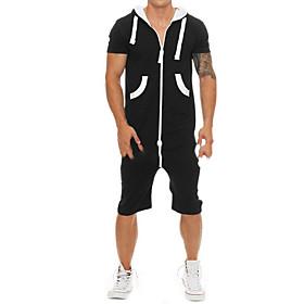 Men's Basic Hooded Black Romper Solid Colored