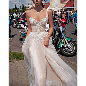 A-Line Wedding Dresses Spaghetti Strap Sweep / Brush Train Lace Tulle Sleeveless Beach Boho Sexy with Embroidery 2020