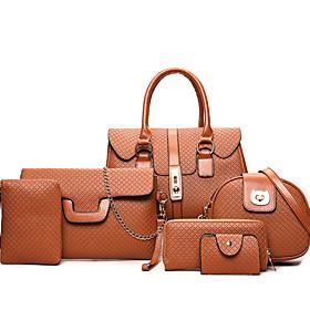 Women's Embossed PU Bag Set Lattice 6 Pieces Purse Set Black / Gold / Brown