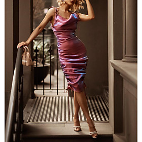 Sheath / Column Reformation Amante Sexy Homecoming Party Wear Dress Spaghetti Strap Sleeveless Knee Length Satin with Ruched 2020