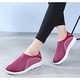 Women's Loafers  Slip-Ons Spring  Summer Flat Heel Round Toe Daily Mesh Purple / Red / Gray