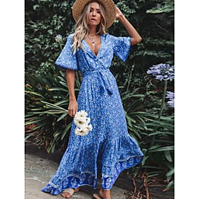 Women's Sheath Dress Maxi long Dress - Short Sleeves Floral Summer Boho 2020 Blue Royal Blue S M L XL XXL