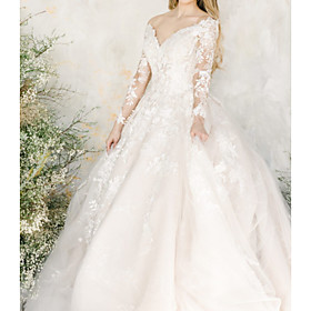 A-Line Wedding Dresses V Neck Court Train Lace Tulle Chiffon Over Satin Long Sleeve Formal Sexy Illusion Sleeve with Embroidery 2020