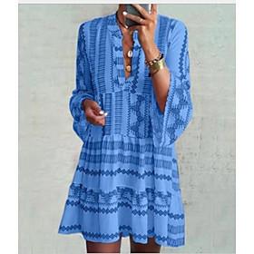 Women's Shirt Dress - Long Sleeve Geometric Summer Casual 2020 Blue S M L XL XXL