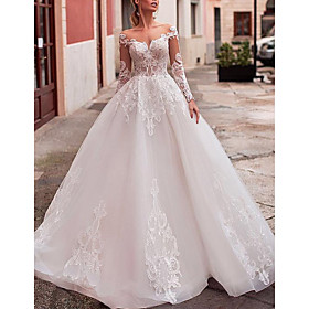 Ball Gown A-Line Wedding Dresses Off Shoulder Sweep / Brush Train Lace Tulle Long Sleeve Formal Sexy See-Through Backless with Appliques 2020