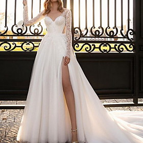 A-Line Wedding Dresses V Neck Court Train Lace Satin Tulle Long Sleeve Country Sexy See-Through with Split Front 2020
