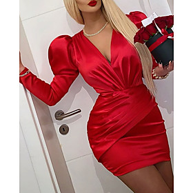 Sheath / Column Vintage Red Homecoming Cocktail Party Dress V Neck Long Sleeve Short / Mini Satin with Ruched 2020