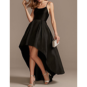 A-Line Minimalist Black Engagement Cocktail Party Dress Spaghetti Strap Sleeveless Asymmetrical Satin with Pleats 2020