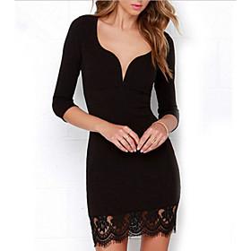 Women's Mini Lace Dress - Long Sleeve Solid Color Fall V Neck Elegant Slim 2020 Black S M L XL