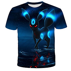 Men's 3D Animal Cat Print T-shirt Street chic Exaggerated Daily Holiday Round Neck Black / Short Sleeve