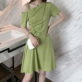 Women's A Line Dress - Short Sleeves Solid Color Summer Fall Boat Neck Casual Holiday Going out Slim 2020 Black Red Green M L XL XXL XXXL